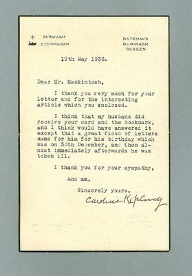 Letter to Donald Mackintosh from Caroline Kipling, 19 May 1936