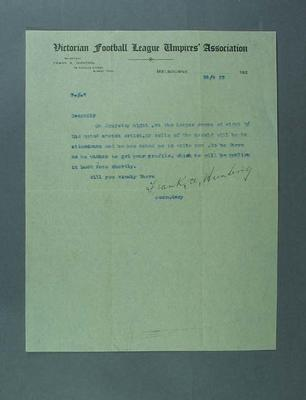 Letter requesting presence at VFLUA event, 10 Sept 1923; Documents and books; 1994.3039.11