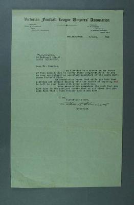 Letter congratulating S Campton on appointment as Sth Melb CC Assistant Secretary; Documents and books; 1994.3039.12