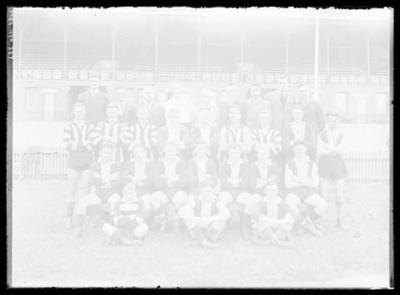 Glass negative, image of football players