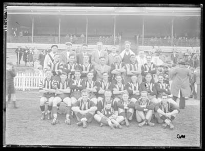 Glass negative, image of Brunswick Football Club team