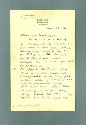 Letter to Donald Mackintosh from Rudyard Kipling, 29 Jan 1930