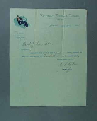 Letter accompanying payment for umpiring football game, 27 May 1920