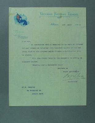 Letter requesting a boundary umpire for match in aid of Red Cross, 24 Oct 1916