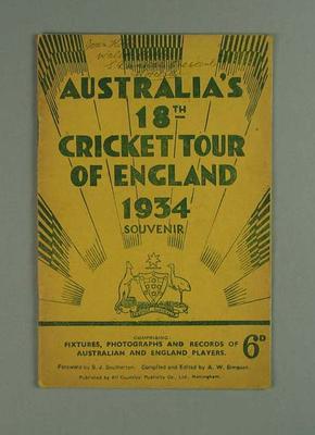 "Booklet, ""Australia's 18th Cricket Tour of England 1934"""