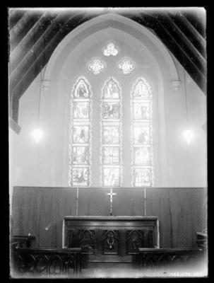 Glass negative, image of church interior