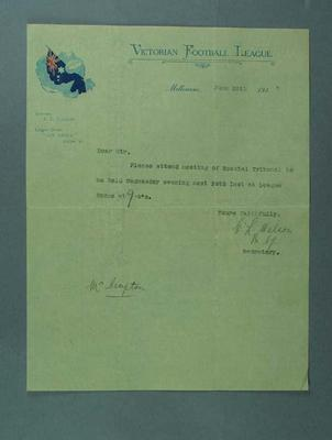 Letter requesting attendance at Special Tribunal meeting, 28 June 1915