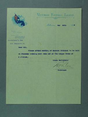 Letter requesting attendance at meeting, 29 May 1916; Documents and books; 1994.3039.32
