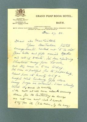 Letter to Donald Mackintosh from Rudyard Kipling, 27 Dec 1933