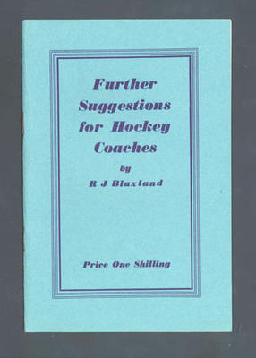 "Booklet, ""Further Suggestions for Hockey Coaches"""