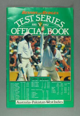 Booklet, Benson & Hedges Test Series 1981-82 - Australia, Pakistan & West Indies