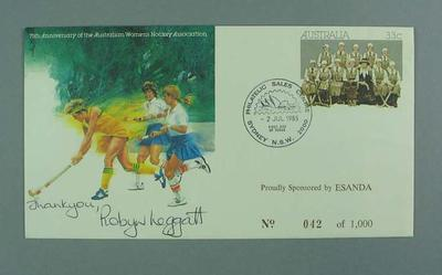 Envelope - First day cover pre-stamped -  75th Anniversary of Women's Hockey, signed by Robyn Leggatt, stamped No. 042 of 1,000