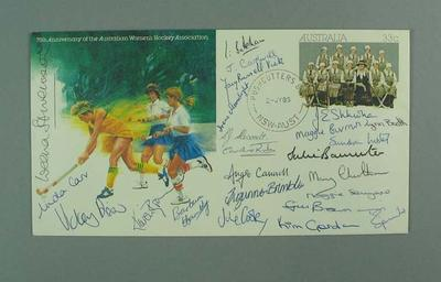 Envelope - First day cover pre-stamped -  75th Anniversary of Women's Hockey, signed by Australians and England team members