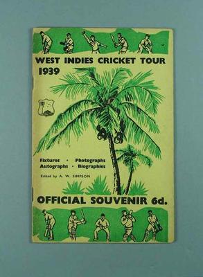 "Booklet, ""West Indies Cricket Tour 1939"""