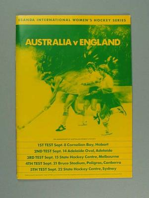 Programme - Esanda International women's Hockey Series, Australia v England