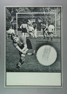Poster depicting Box Hill v Corovians women's hockey match, c1977-86