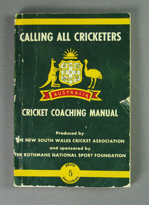 """Booklet, """"Calling all Cricketers, Australia Cricket Coaching Manual"""" - 1964"""