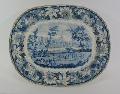Plate, meat dish:   image of cricket match at Windsor Castle