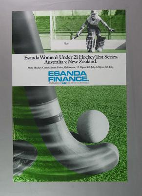Poster advertising Australia v New Zealand Under 21 Women's Hockey Test Series, c1980s
