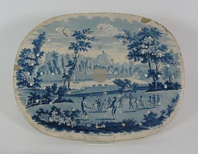 Meat plate strainer: -  image of cricket match at Windsor Castle
