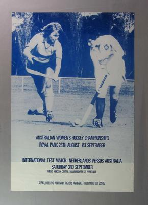 Poster advertising Australian Women's Hockey Championships, c1980s