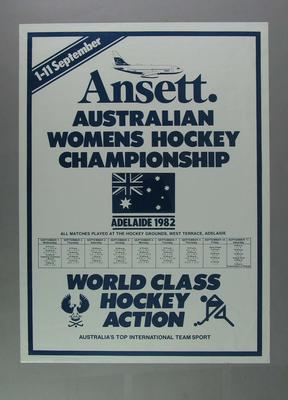 Poster advertising Australian Women's Hockey Championship, 1982
