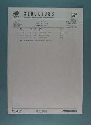 Official results receipt, 1988 Seoul Olympic Games women's 400m hurdles final