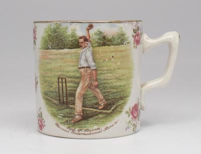 Mug with image - 'Syd F. Barnes, Famous International Bowler'.; Domestic items; M5339
