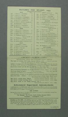 Unused scorecard, MCC v Australians at Lord's Ground - May 1953