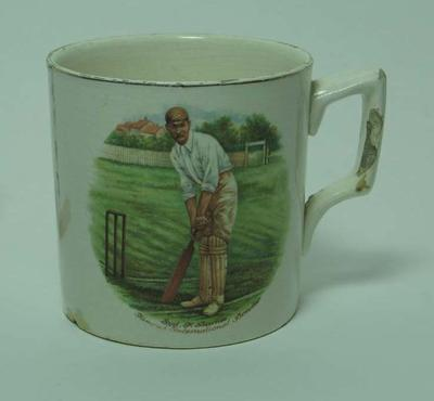 Mug with  image  - Syd  F. Barnes Famous International Bowler; Domestic items; M5340