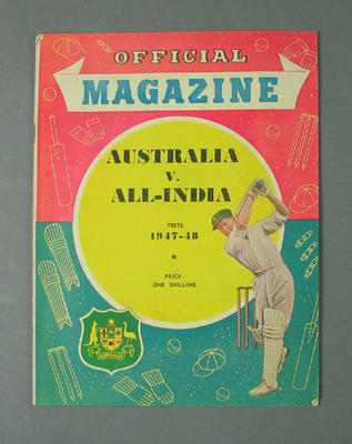 """Magazine, """"Australia v All-India Tests 1947-48""""; Documents and books; M10518.1"""