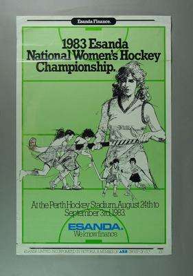 Poster advertising Australian Women's Hockey Championship, 1983