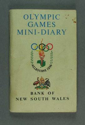 """Booklet, """"Olympic Games Mini-Diary"""" c1956"""