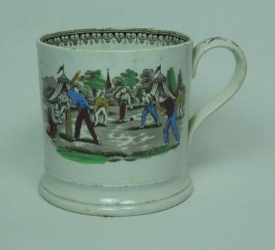 Mug, Victorian cricket scene with bat and ball design on handle