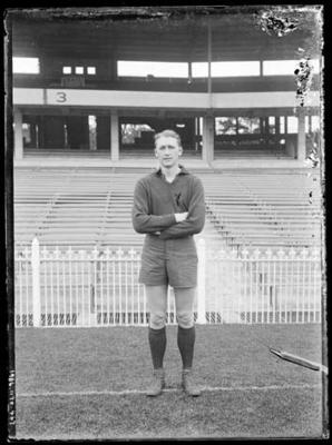 Glass negative, image of Melbourne Football Club player - Donald Cordner