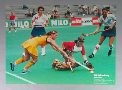 Poster depicting Australia v US match at Women's Hockey World Cup, 1983