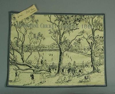Textile placemat, image of Melbourne Cricket Ground 1860s