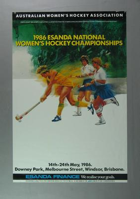 Poster advertising Australian Women's Hockey Championships, 1986