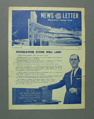 Melbourne Cricket Club newsletter, no 29 - May 1967