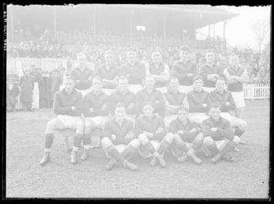 Glass negative, image of Hawthorn Football Club team - 1941; Photography; 1986.1170.479