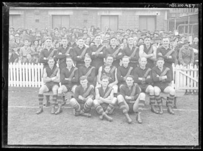 Glass negative, image of Richmond Football Club team - 1937; Photography; 1986.1170.487
