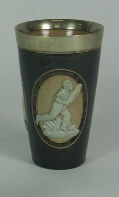 Ceramic beaker, cricketers design