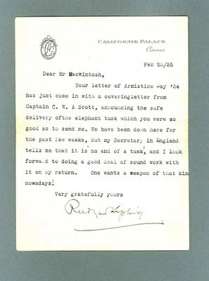 Letter to Donald Mackintosh from Rudyard Kipling, 25 Feb 1935