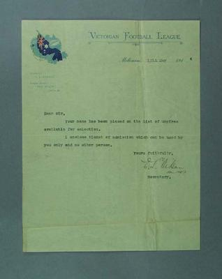 Letter regarding appointment as VFL umpire, season 1914