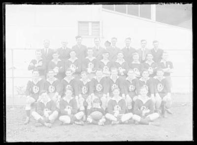 Glass negative, image of EBJFC football team