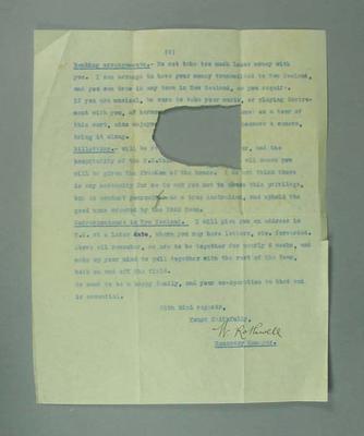 Letter from Australian Hockey Association regarding tour to New Zealand, 1925