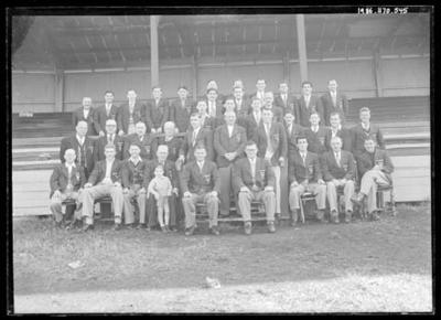 Glass negative, image of South Melbourne Football Club officials; Photography; 1986.1170.545