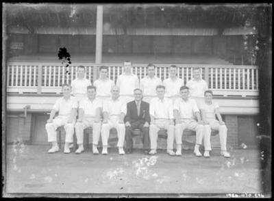 Glass negative, image of cricket team