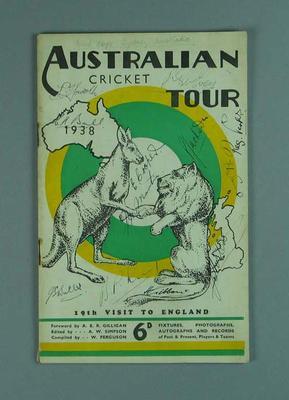 "Booklet, ""Australian Cricket Tour 1938"""