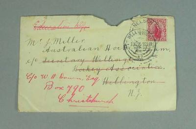 Letter received during hockey tour to New Zealand, 1925